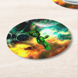 Funny little alien round paper coaster