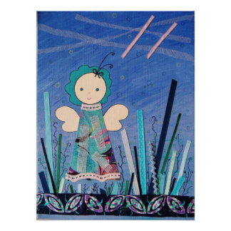 funny little angel blue all over poster