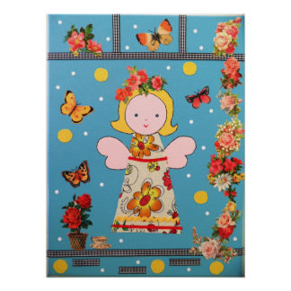 funny little angel , blue,many flowers and colors poster
