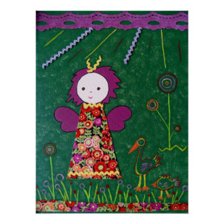 funny little angel green purple and red flowers poster