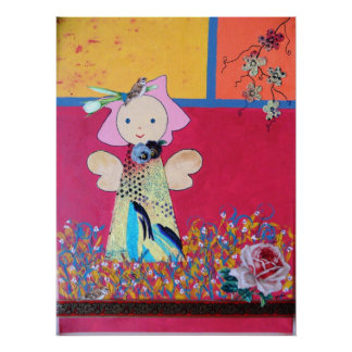 funny little angel in red ,yellow poster