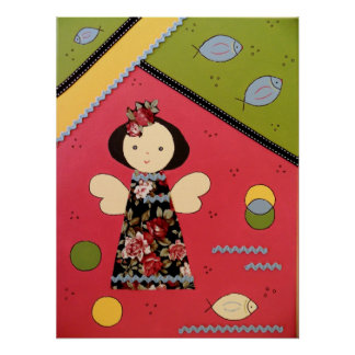 funny little angel in rose and green and yellow poster