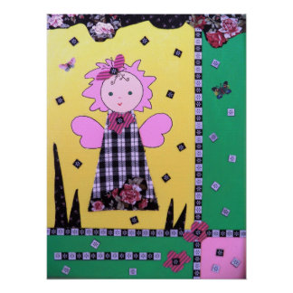 funny little angel poster in yellow green , black