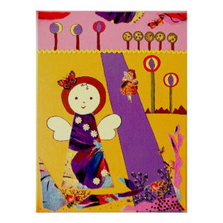 funny little angel purple yellow and rose poster