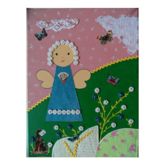 funny little angel rose blue green white poster
