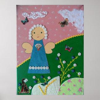 funny little angel rose blue green white poster