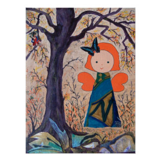 funny little angel under big tree poster