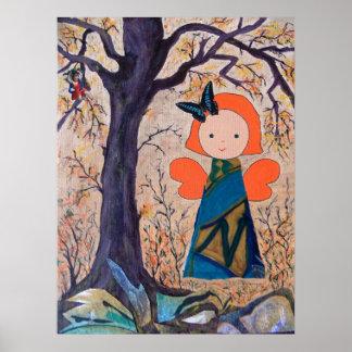 funny little angel under big tree poster