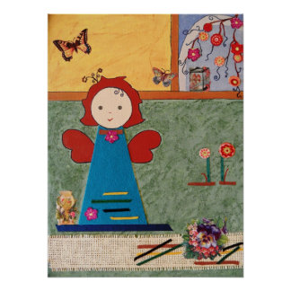 funny little angel with blue dress butterfly poster