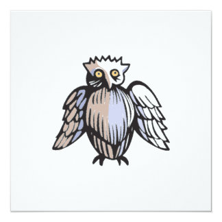 Funny Little Antique Style Owl Drawing Card