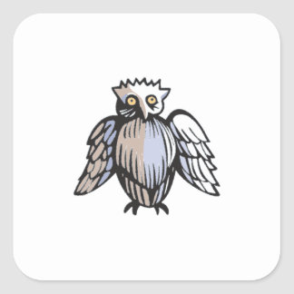 Funny Little Antique Style Owl Drawing Square Sticker