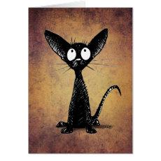 Funny Little Black Cat Art Custom Card