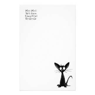 Funny little black cat stationery