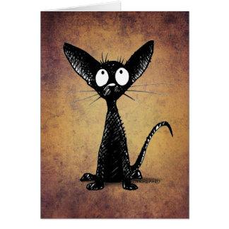 Funny Little Black Oriental Cat Art Card
