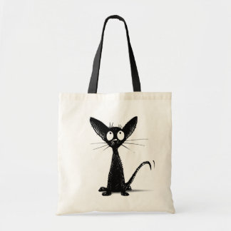 Funny Little Black Oriental Cat Budget Tote Bag