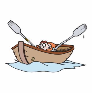 funny little boy in boat photo cut out