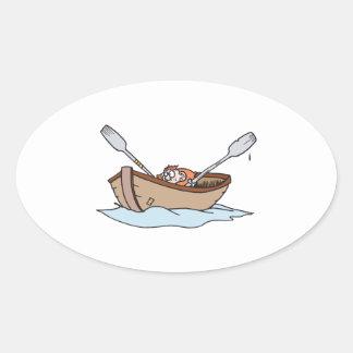 funny little boy in boat sticker
