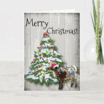 Funny Little Christmas Goat Holiday Card