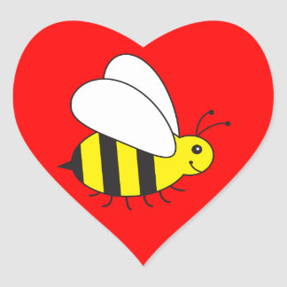 Funny Little Honey Bee Cute Heart Sticker