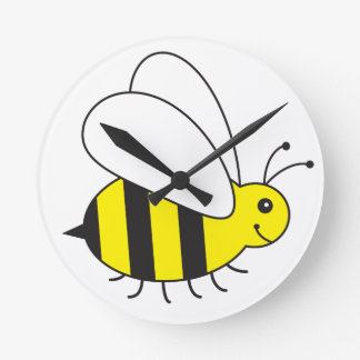 Funny Little Honey Bee Cute Round Clock