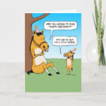 "Funny Little Horse Birthday Card<br><div class=""desc"">Here&#39;s a cute and funny birthday card featuring a big horse asking a little horse if he&#39;s going to sing Happy Birthday. This is a new design of a very popular card I designed years ago.</div>"