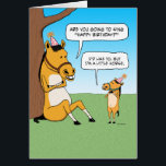 """Funny Little Horse Birthday Card<br><div class=""""desc"""">Here&#39;s a cute and funny birthday card featuring a big horse asking a little horse if he&#39;s going to sing Happy Birthday. This is a new design of a very popular card I designed years ago.</div>"""