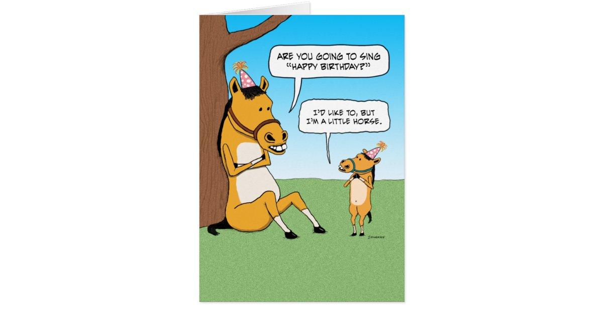 Funny Little Horse Birthday Card | Zazzle.com
