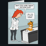 """Funny Little Horse Get Well Card<br><div class=""""desc"""">This cute and funny get well card features a doctor checking up on a patient who has some classic cold symptoms ...  and is a little horse.</div>"""