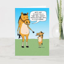 Funny Little Horse Get Well Soon Card