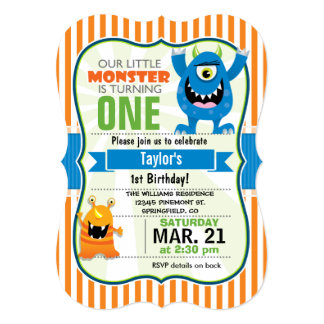 Funny Little Monster Birthday Party Card