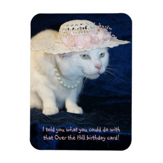 Funny Little Old Lady Cat/Kitty in Flowered Hat Rectangular Photo Magnet