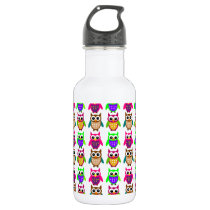 funny little owls water bottle