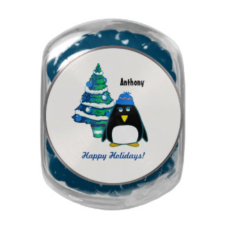 Funny Little Penguin. Christmas Gift Candy Glass Candy Jar