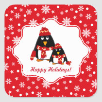 Funny Little Penguins Christmas Stickers