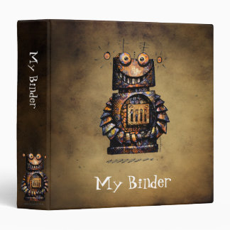 Funny Little Robot 3 Ring Binder
