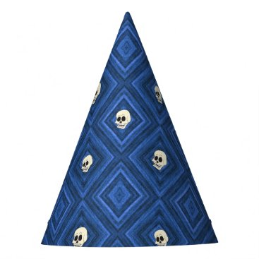 Halloween Themed Funny little Skull pattern, blue Party Hat