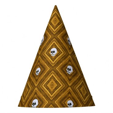 Halloween Themed Funny little Skull pattern, golden Party Hat