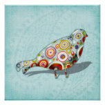 Funny Little Whimsical Bird on Paisley Poster