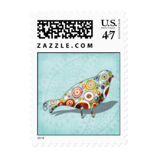 Funny Little Whimsical  Bird Postage Stamp