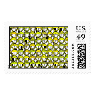 Funny Little Yellow Smiley Faces Pattern Postage