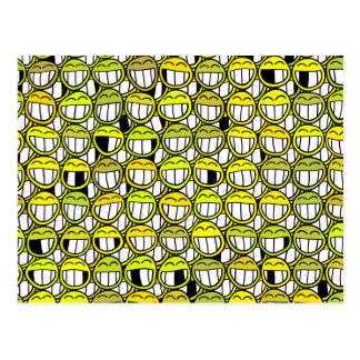 Funny Little Yellow Smiley Faces Pattern Postcard