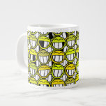 Funny Little Yellow Smiley Faces Pattern Jumbo Mugs