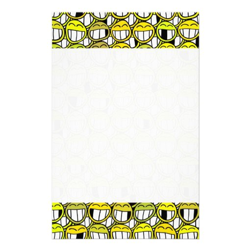 Funny Little Yellow Smiley Faces Pattern Customized Stationery