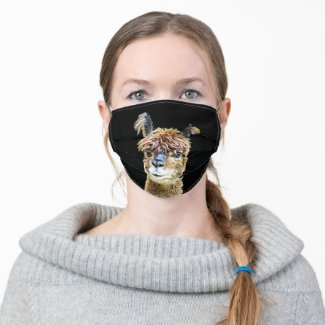 Funny Llama and Black Background Cloth Face Mask