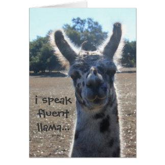 Funny Llama Birthday Card, I speak fluent llama... Greeting Card