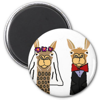 Funny Llama Bride and Groom Wedding Art Magnet