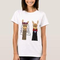 Funny Llama Bride and Groom Wedding Art T-Shirt