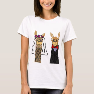 Funny Llama Bride and Groom Wedding Art T-Shirt