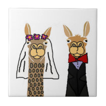 Funny Llama Bride and Groom Wedding Art Tile