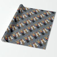 Funny Llama Bride and Groom Wedding Art Wrapping Paper